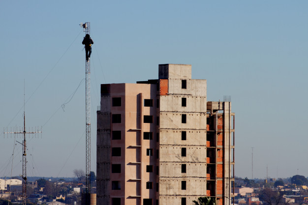 tower climber working heights
